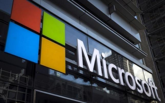 A Microsoft logo is seen on an office building in New York